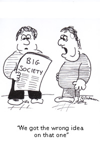 Two overweight people read news on big society launch and say: We got the wrong idea on that one